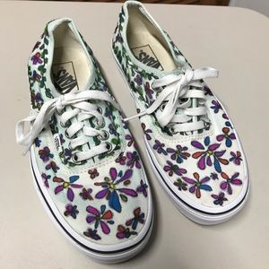 Vans Sneakers Upcycled Mint and White with Flowers